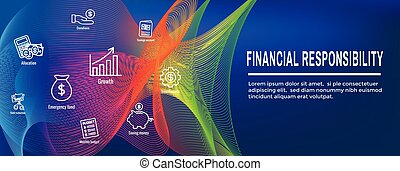 personal, -, finanzas, bandera, responsabilidad, y, conjunto, tela, icono, encabezamiento
