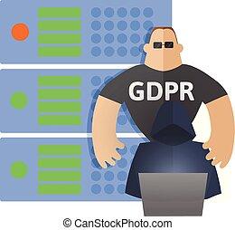 personal, illustration., general, gdpr, protección, aislado, pirata informático, data., guard., vector, servidor, regulation., white., concepto, seguridad, datos