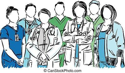 personal, médico, vector, enfermeras, ilustración, doctors