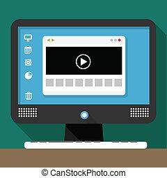 personal, medios, moderno, escritorio, ventana, computadora, examinador