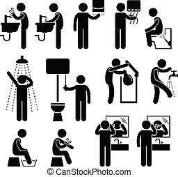 personal, servicio, higiene