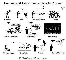 personal, uso, aplicaciones, zángano, entertainment.