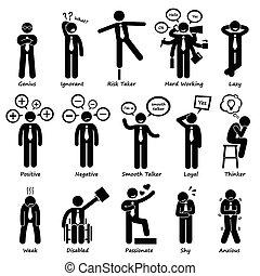 Personalidades de actitud de hombre de negocios