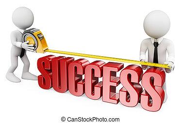 personas., 3d, blanco, éxito, medida