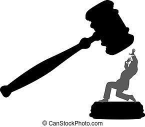 Personas de negocios en peligro de que la corte dé el martillo