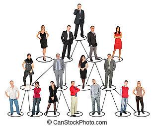 Personas diferentes tomando diferentes posiciones y niveles de collage