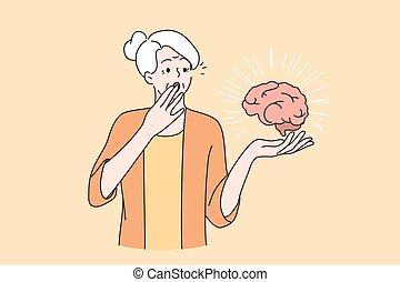personas edad avanzada, concepto, salud, mental