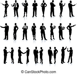personas empresa, conjunto, súper, silueta