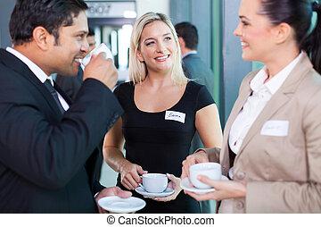 personas empresa, teniendo, durante, interrupción, seminario, café