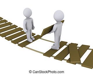 Personas en el puente ayudando a otra