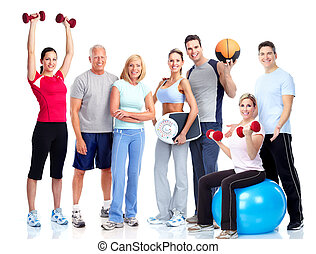 personas., gimnasio, fitness., sonriente