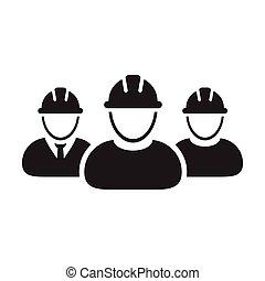 personas, hardhat, avatar, pictogram, construcción, perfil, icono, casco, contratista, grupo, ilustración, gente, vector, trabajo, glyph, constructor, equipo