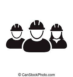 personas, hardhat, avatar, trabajo, pictogram, construcción, perfil, icono, casco, grupo, ilustración, gente, vector, trabajo, glyph, constructor, equipo