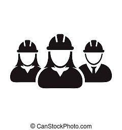 personas, hardhat, trabajador, avatar, illustratio, pictogram, construcción, perfil, icono, casco, contratista, grupo, gente, vector, trabajo, glyph, constructor, equipo