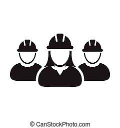 personas, hardhat, trabajador, avatar, pictogram, construcción, perfil, icono, casco, contratista, grupo, ilustración, gente, vector, trabajo, glyph, constructor, equipo