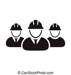personas, hardhat, trabajador, avatar, pictogram, construcción, perfil, icono, casco, grupo, ilustración, fábrica, gente, vector, trabajo, glyph, constructor, equipo