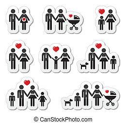 Personas iconos - familia, bebé, embarazo