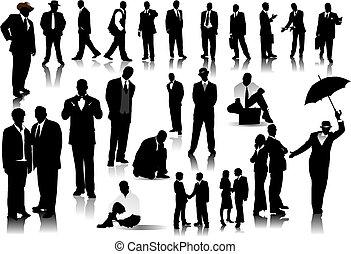 personas oficina, color, silhouettes., uno, vector, clic, cambio
