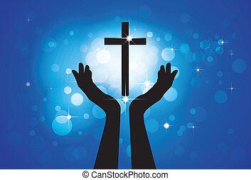 Personas orando o adorando a la santa cruz o a Jesús - concepto gráfico vector de un fiel cristiano adorando al Hijo del Señor (Cristo) con fondo azul de estrellas y círculos