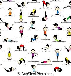 Personas que practican yoga, sin manchas para tu diseño