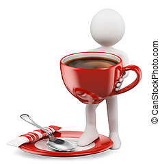 personas., taza, coffe, 3d, blanco
