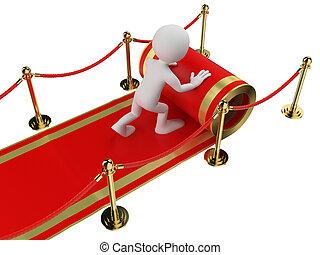 personas., trabajador, rodante, blanco, alfombra, afuera, rojo, 3d