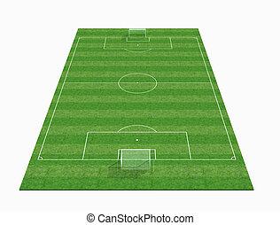 Perspectiva vista de un campo de fútbol vacío - 3D