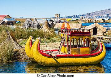 peruano, uros, puno, andes, perú, islas, flotar