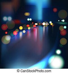 pesado, ciudad, lluvioso, confuso, luces, tráfico, defocused, mojado, camino, night.