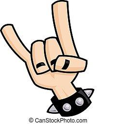 pesado, diablo, metal, mano, cuernos, señal