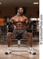 pesado, hombros, culturista, peso, ejercicio