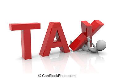 pesado, impuesto, taxpayer, carga, debajo