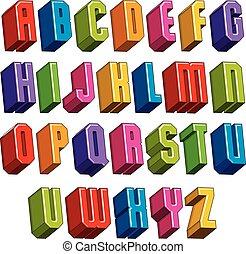 pesado, negrita, al, cartas, dimensional, vector, fuente, geométrico, 3d