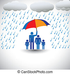 pesado, representa, umbrella., paraguas, colorido, familia , y, amor, gráfico, padre, lluvia, incluye, esposa, children(concept, el suyo, etc), tenencia, cuidado, proteger, cubierta