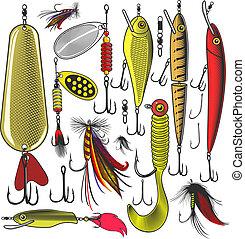 pesca, artificial, engaña
