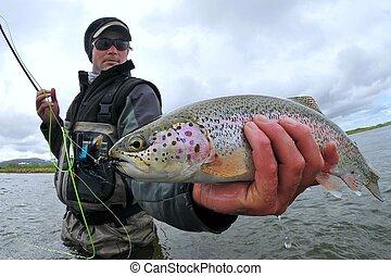 Pesca de truchas arco iris