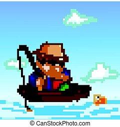 Pesca de un niño de dibujos animados