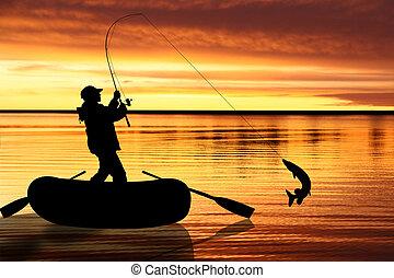 pesca, ilustración, mosca
