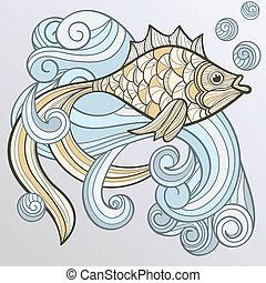 Pescado abstracto del vector en agua