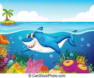 Pescado de tiburón en el mar