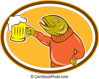 Pescado de truchas sosteniendo dibujos de cerveza taza oval