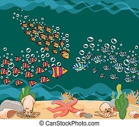 Pescado marino. Mundo submarino del océano