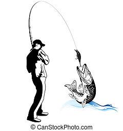 Pescador atrapó un lucio