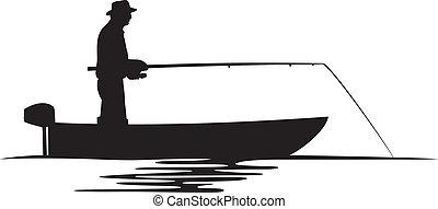 pescador, silueta, barco