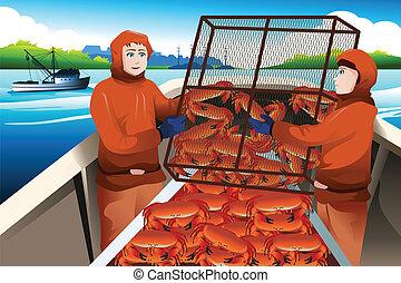 Pescadores de cangrejo atrapando cangrejos en el mar