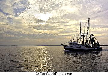 Pescando arrastreros en el agua al amanecer
