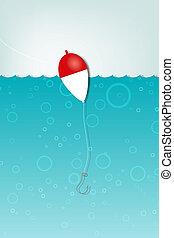 Pescar con un gancho bajo el agua.