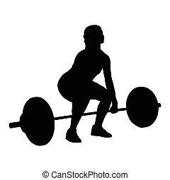 peso, silueta, vector, mujer, elevación