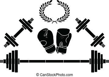 Pesos y guantes de boxeo