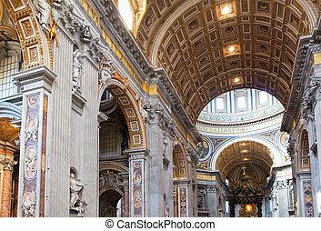 peter, italy., rome., c/, interior, vatican., basilica., vista.